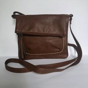 Lucky Brand Small Fold Over Crossbody Purse Brown